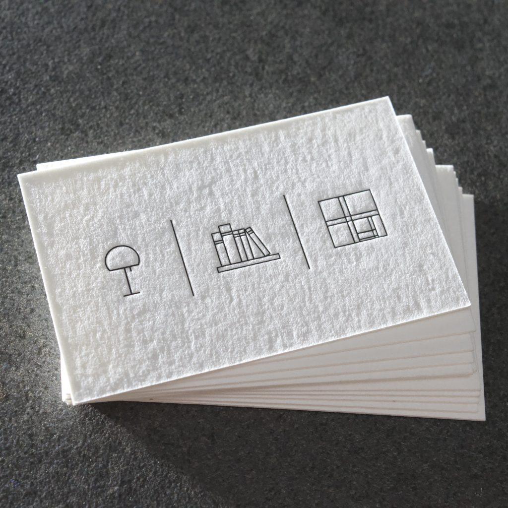 Letterpress Visitenkarten feine Linien Ansicht Rückseite