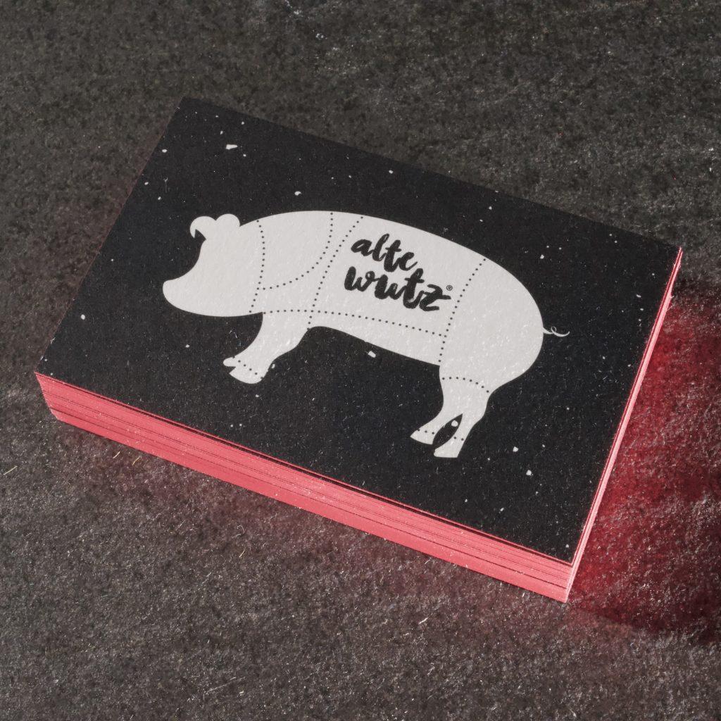 Visitenkarten Farbschnitt Curious Matter 380g schwarze Visitenkarte