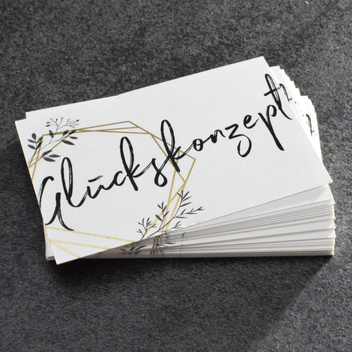Visitenkarten Digitalfolie Hochzeit Weddingplanner Gold
