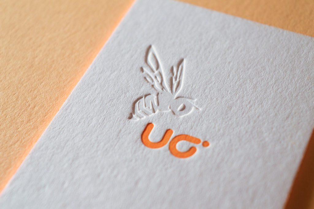Letterpress Druckerei Blindprägung Visitenkarten Tiefprägung