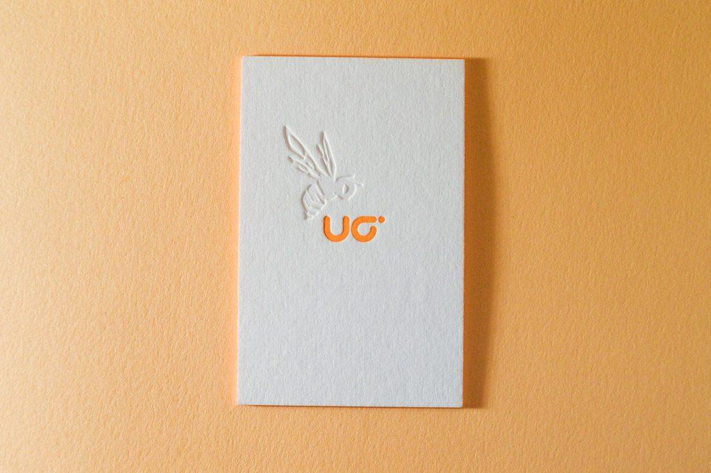 Letterpress Druckerei Visitenkarten Farbschnitt Blindprägung