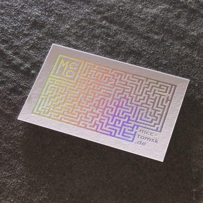 Visitenkarten kurz Laser Light Line Prägung