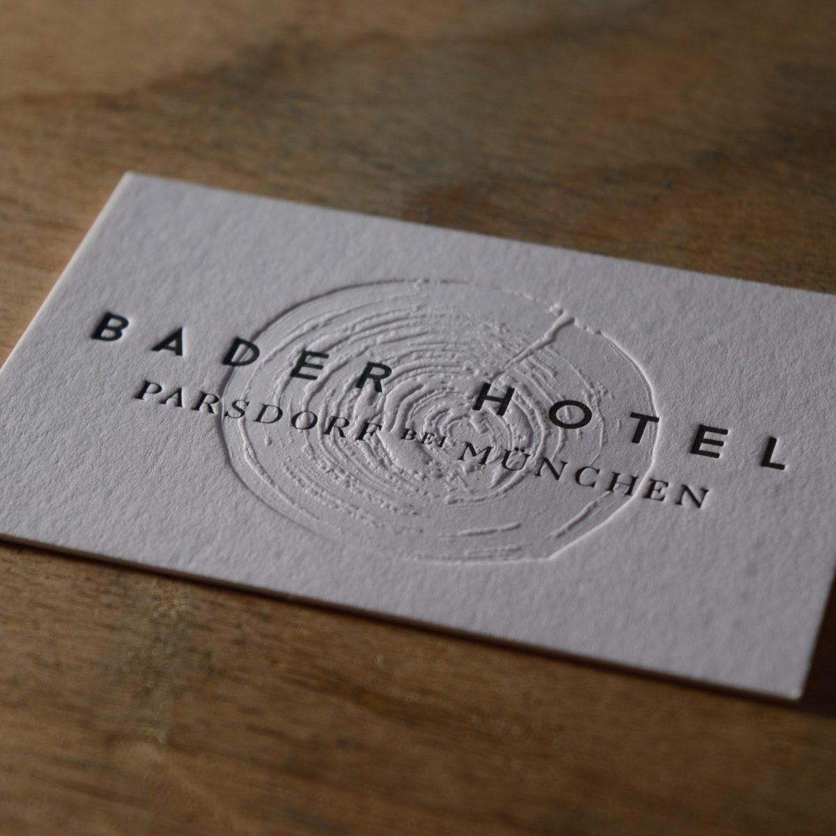 Visitenkarten Letterpress Blindprägung Bader Hotel