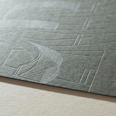 Letterpress Karte Kaschierung feine Prägung