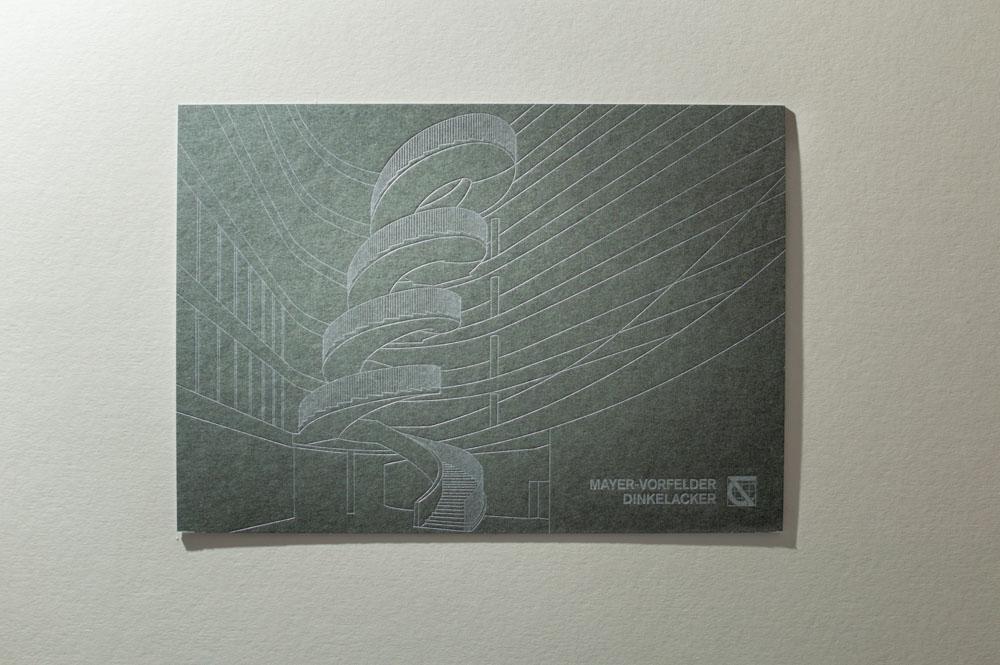 Letterpress Karte feine Linie silber