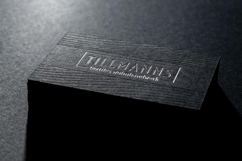 Schwarze Visitenkarten mit Prägung Silber Colorplan Ebony Black